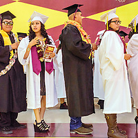 052315  Adron Gardner/Independent<br /> <br /> Tohatchi Cougar seniors line up for graduation at Tohatchi High School Friday.