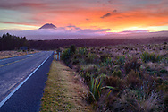 Oceania, New Zealand, Aotearoa, North Island, Tongariro National Park, sunrise with Mount Tongariro