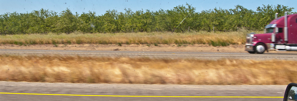 scenes along I-5 in northern California viewed from a classic Mini Cooper automobile driving north