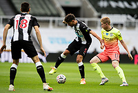 Newcastle United's Fabian Schar shields the ball from Manchester City's Kevin De Bruyne<br /> <br /> Photographer Alex Dodd/CameraSport<br /> <br /> FA Cup Quarter-Final - Newcastle United v Manchester City - Sunday 28th June 2020 - St James' Park - Newcastle<br />  <br /> World Copyright © 2020 CameraSport. All rights reserved. 43 Linden Ave. Countesthorpe. Leicester. England. LE8 5PG - Tel: +44 (0) 116 277 4147 - admin@camerasport.com - www.camerasport.com