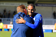 Late goal-scorer and match-winner Cardiff City striker Kenneth Zohore (10) during the EFL Sky Bet Championship match between Burton Albion and Cardiff City at the Pirelli Stadium, Burton upon Trent, England on 5 August 2017. Photo by Richard Holmes.