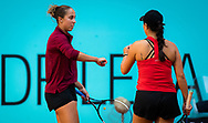 Madison Keys and Jessica Pegula of the United States playing doubles at the Mutua Madrid Open 2021, Masters 1000 tennis tournament on May 4, 2021 at La Caja Magica in Madrid, Spain - Photo Rob Prange / Spain ProSportsImages / DPPI / ProSportsImages / DPPI