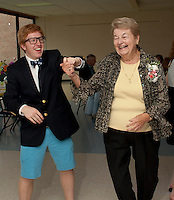 Bryce Quigley and Lucille Clement work the dance floor during the Senior Senior dance at Gilford High School Friday evening.   The evening included dinner and dancing hosted by the Interact Club, Student Council and Gilford Parks and Recreation.   (Karen Bobotas/for the Laconia Daily Sun)