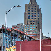 Close up view of new window installation at the Power & Light Building in downtown Kansas City, Missouri as the historic art deco high-rise structure undergoes renovation by NorthPoint Development