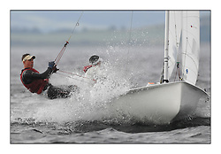470 Class European Championships Largs - Day 1.Racing in grey and variable conditions on the Clyde...CRO111, Lovro IVANOV, Marko CARIC, Jedrilicarski Klub Uskok