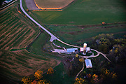 Sunrise aerial image over western Dane County, Wisconsin on a beautiful morning.