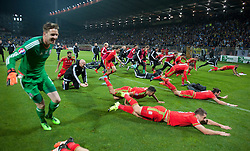 ZENICA, BOSNIA & HERZEGOVINA - Saturday, October 10, 2015:  The welsh players dive in celebration after securing a place at next years Euro Championships after the Bosnia & Herzegovina vs Wales match at the Stadion Bilino Polje during the UEFA Euro 2016 qualifying Group B match. (Pic by Peter Powell/Propaganda)