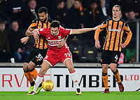 Middlesbrough's Stewart Downing shields the ball from Hull City's Kevin Stewart<br /> <br /> Photographer Chris Vaughan/CameraSport<br /> <br /> The EFL Sky Bet Championship - Hull City v Middlesbrough - Tuesday 31st October 2017 - KC Stadium - Hull<br /> <br /> World Copyright © 2017 CameraSport. All rights reserved. 43 Linden Ave. Countesthorpe. Leicester. England. LE8 5PG - Tel: +44 (0) 116 277 4147 - admin@camerasport.com - www.camerasport.com