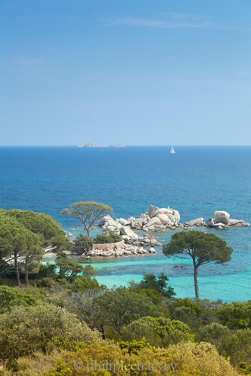 Sea and beach on sunny summer day, Porto Vecchio, Corsica, France