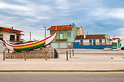 Traditional colorful Portuguese fishing boat at Vieira de Leiria is a Portuguese village and also a parish in the municipality of Marinha Grande, Portugal
