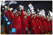 North Korean cheerleaders during the 2018 Winter Olympic opening ceremony at the Pyeongchang Stadium in South Korea