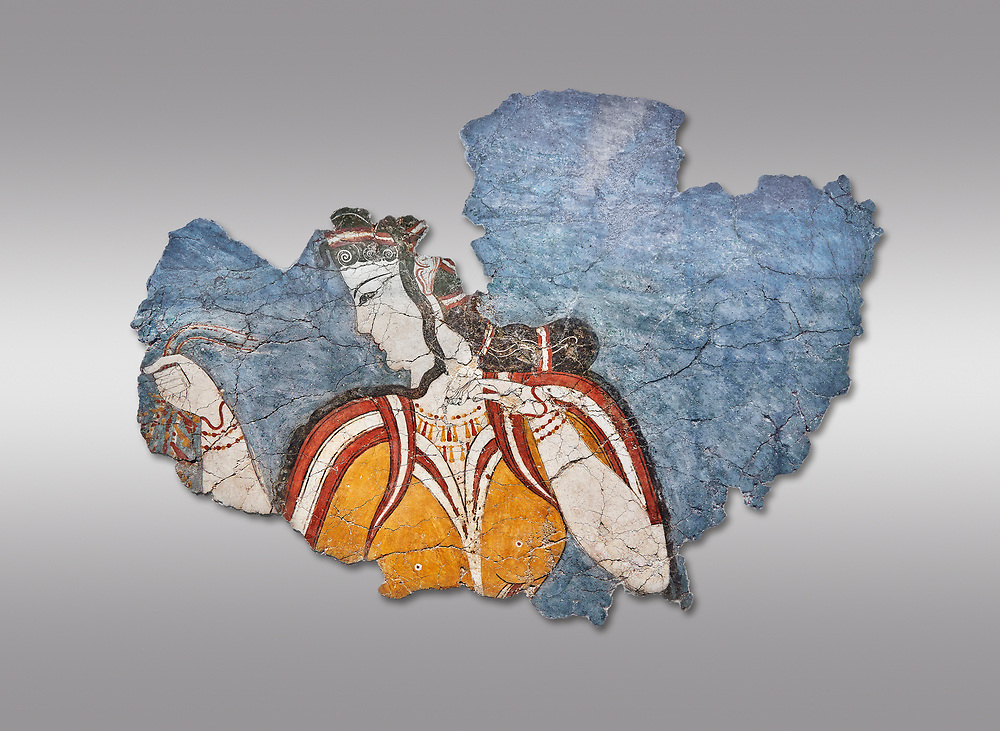 The 'Mycenaean Lady' fresco wall painting depicting a women in a procession, Mycenae, Greece Cat No 11670. National Archaeological Museum, Athens. Grey Background<br /> <br /> The 'Mycenaean Lady' fresco depicts a women with a serious and pensive expression of a goddess in a solemn moment during which she accepts a gift of a necklace which she hold tightly in her right hand. she wears a short sleeved bodice over a sheer blouse which deliniates her bosom. She has an  intricate hairstyle and wears rich jewellery. .<br /> <br /> If you prefer to buy from our ALAMY PHOTO LIBRARY  Collection visit : https://www.alamy.com/portfolio/paul-williams-funkystock/mycenaean-art-artefacts.html . Type -   Athens    - into the LOWER SEARCH WITHIN GALLERY box. Refine search by adding background colour, place, museum etc<br /> <br /> Visit our MYCENAEN ART PHOTO COLLECTIONS for more photos to download  as wall art prints https://funkystock.photoshelter.com/gallery-collection/Pictures-Images-of-Ancient-Mycenaean-Art-Artefacts-Archaeology-Sites/C0000xRC5WLQcbhQ