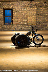 Slim Cranford's custom trike from Nuevo, CA in the Mama Tried Bike Show. Milwaukee, WI, USA. Sunday, February 19, 2017. Photography ©2017 Michael Lichter.