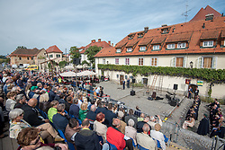 Visitors during the Old Vine harvest. Modra kavcina or Bleu de Cologne is more than 400 years old and it is listed in the Guinness Book of Records as the oldest vine in the world still producing fruit. Pictured on 22nd of September in Maribor, Slovenia.  Photo by Milos Vujinovic / Sportida