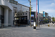 The Bullring and city centre virtually deserted under coronavirus lockdown on 15th April 2020 in Birmingham, England, United Kingdom. Coronavirus or Covid-19 is a new respiratory illness that has not previously been seen in humans. While much or Europe has been placed into lockdown, the UK government has put in place more stringent rules as part of their long term strategy, and in particular social distancing.