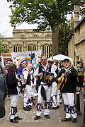 Morris men in Burford in The Cotswolds for the annual Levellers Parade, UK