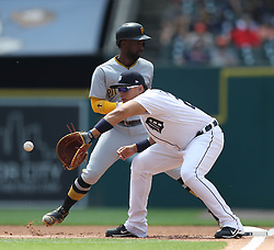 August 10, 2017 - Detroit, MI, USA - The Detroit Tigers' Miguel Cabrera holds the Pittsburgh Pirates' Andrew McCutchen at first base in the first inning on Thursday, Aug. 10, 2017, at Comerica Park in Detroit. The Pirates won, 7-5. (Credit Image: © Kirthmon F. Dozier/TNS via ZUMA Wire)