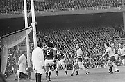 Dublin goalie saves ball during the All Ireland Senior Gaelic Football Championship Final Dublin V Galway at Croke Park on the 22nd September 1974. Dublin 0-14 Galway 1-06.