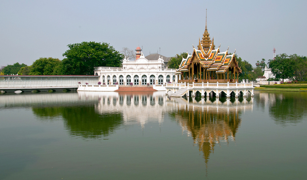 A reflection of the presidential summer house, outside Bangkok, Thailand.