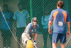 ©London News Pictures. 18/03/2011.Michael Hussey acknowledges team mate Dirk Nannes's good delivery. Photo credit should read Asanka Brendon Ratnayake/London News Pictures