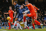 Luton Town defender Sonny Bradley (5) shoots at goal during the EFL Sky Bet League 1 match between Southend United and Luton Town at Roots Hall, Southend, England on 26 January 2019.