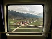 Between Lanzhou and Xining. Window view across China, from Hong Kong to Urumqi, Xinjiang.