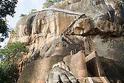 Metal staircase climbing to rock palace fortress, Sigiriya, Central Province, Sri Lanka, Asia