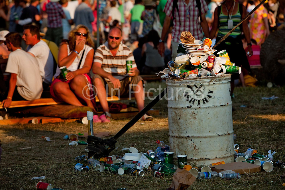 Overflowing rubbish bin, Glastonbury Festival 2010