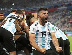 SAINT PETERSBURG, June 26, 2018  Sergio Aguero (front) of Argentina celebrates Marcos Rojo's goal with teammates during the 2018 FIFA World Cup Group D match between Nigeria and Argentina in Saint Petersburg, Russia, June 26, 2018. Argentina won 2-1 and advanced to the round of 16. (Credit Image: © Yang Lei/Xinhua via ZUMA Wire)