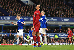 Liverpool's Virgil van Dijk rues a missed chance during the Premier League match at Goodison Park, Liverpool.