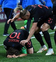 NIZHNY NOVGOROD, June 21, 2018  Luka Modric (L) of Croatia celebrates his scoring during the 2018 FIFA World Cup Group D match between Argentina and Croatia in Nizhny Novgorod, Russia, June 21, 2018. Croatia won 3-0. (Credit Image: © Li Ga/Xinhua via ZUMA Wire)