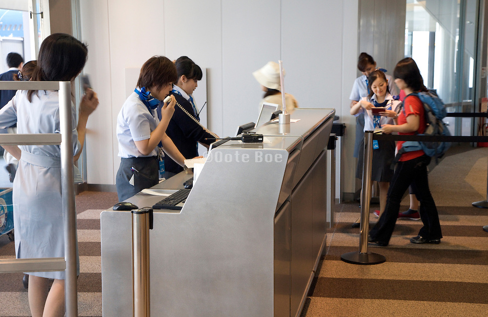 passengers at last passport and ticket check for boarding airplane