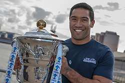 © Licensed to London News Pictures . 26/10/2012 . Salford , UK . Manese Manuo-Kafoa of Tonga holds the cup . Press conference marking a one year countdown to the start of the 2013 Rugby League World Cup , which is being hosted by England and Wales . Photo credit : Joel Goodman/LNP
