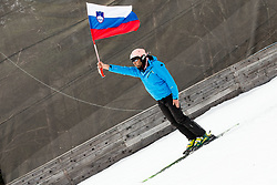 Flag of Slovenia during Ski Flying Hill Men's Team Competition at Day 3 of FIS Ski Jumping World Cup Final 2017, on March 25, 2017 in Planica, Slovenia. Photo by Vid Ponikvar / Sportida