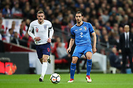 England forward Jamie Vardy (9) and Italy defender Mattia De Sciglio (2) during the Friendly match between England and Italy at Wembley Stadium, London, England on 27 March 2018. Picture by Toyin Oshodi.