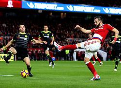 Alvaro Negredo of Middlesbrough shoots at goal - Mandatory by-line: Robbie Stephenson/JMP - 20/11/2016 - FOOTBALL - Riverside Stadium - Middlesbrough, England - Middlesbrough v Chelsea - Premier League