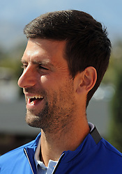 March 7, 2019 - Indian Wells, CA, U.S. - INDIAN WELLS, CA - MARCH 07: ATP tennis player Novak Djokovic (SRB) does a television interview on March 7, 2019 at the Indian Wells Tennis Garden in Indian Wells, CA. (Photo by John Cordes/Icon Sportswire) (Credit Image: © John Cordes/Icon SMI via ZUMA Press)