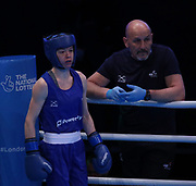 Charley-Sian Davison of Great Britain (bue) during The Road to Tokyo European Olympic Boxing Qualification, Sunday, March 15, 2020, in London, United Kingdom. (Mitchell Gunn-ESPA-Images/Image of Sport via AP)