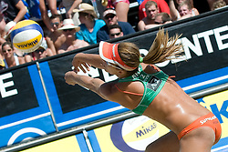 Larissa Franca of Brazil receives the ball at A1 Beach Volleyball Grand Slam tournament of Swatch FIVB World Tour 2010, final, on July 31, 2010 in Klagenfurt, Austria. (Photo by Matic Klansek Velej / Sportida)