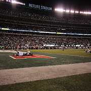 Jeremy Kerley, New York Jets, is inches away from realing in a deflected pass late in the fourth quarter during the New York Jets Vs Chicago Bears, NFL regular season game at MetLife Stadium, East Rutherford, NJ, USA. 22nd September 2014. Photo Tim Clayton for the New York Times