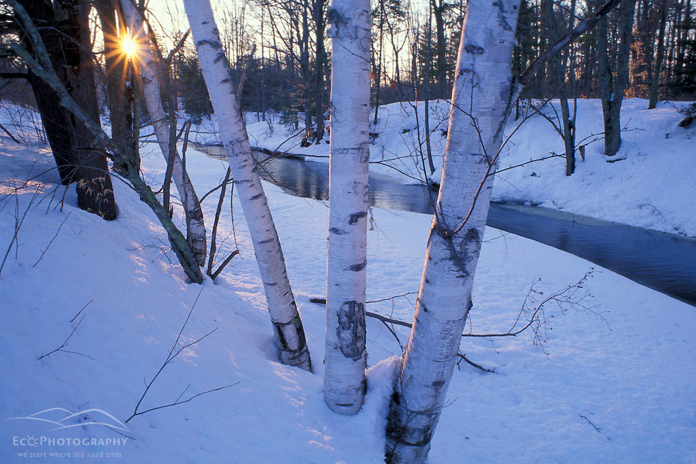 The Lamprey River in winter.  Lee, New Hampshire.