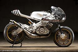 Yamaha TZRD, a raw metal custom racer built from a 1974 Yamaha RD 400 by Roland Sands of Roland Sands Design. The Handbuilt Show. Austin, Texas USA. Friday, April 12, 2019. Photography ©2019 Michael Lichter.