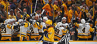 NASHVILLE, TN - JUNE 11:  The Pittsburgh Penguins celebrate on the bench during the final moments of a defeat of the Nashville Predators 2-0 in Game Six of the 2017 NHL Stanley Cup Final at the Bridgestone Arena on June 11, 2017 in Nashville, Tennessee.  (Photo by Frederick Breedon/Getty Images)
