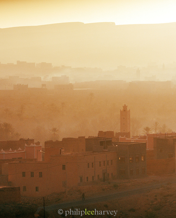 A minaret stands above the rooftops in the small town of Tinerhir, near the Todra Gorge in Morocco