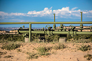 Gas pipeline in the San Juan Basin in Northwestern New Mexico where there is a fracking boom.