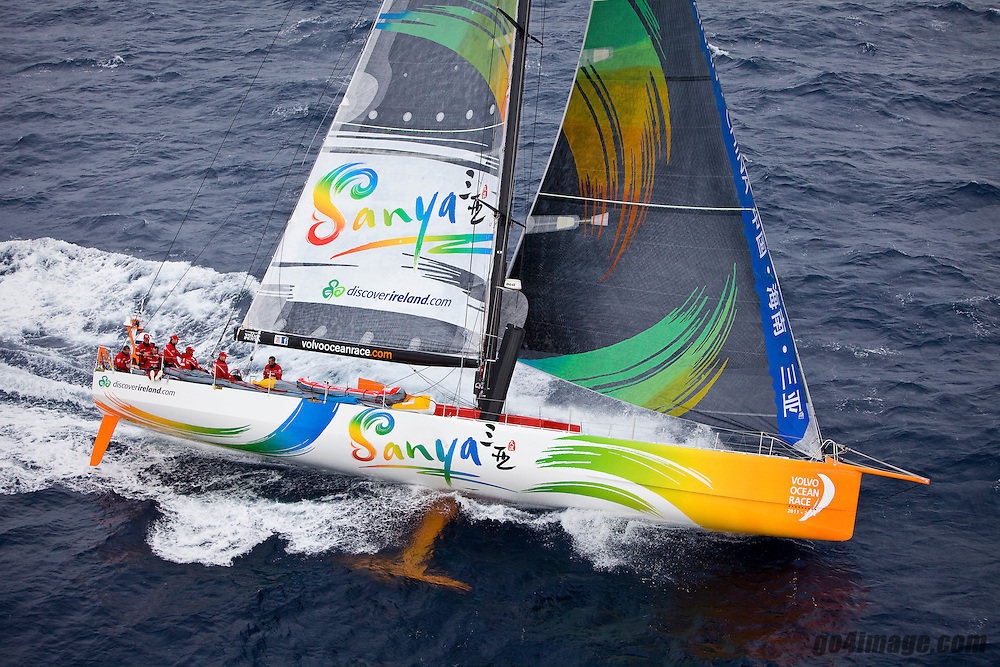 Team Sanya skippered by Mike Sanderson at the start of Leg 1 of the Volvo Ocean Race 2011-12 that will sail 6,500 miles to Cape Town as part 39,000 miles around the world from Spain to eight ports before finishing in Galway in July 2012..