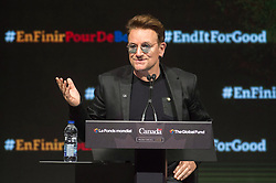 Bono addresses a session at the Global Fund conference Saturday, on September 17, 2016 in Montreal, QC, Canada. Photo by Paul Chiasson/The Canadian Press/ABACAPRESS.COM