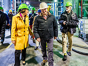 12 APRIL 2019 - NEVADA, IOWA: US Senator AMY KLOBUCHAR, (D-MN) and MIKE HOLLENBERG, CEO of Lincolnway Energy, tour the Lincolnway Energy ethanol plant in Nevada, IA. Sen. Klobuchar is touring Iowa this weekend to support her bid for the Democratic nomination of for the US Presidency. Iowa traditionally hosts the the first election event of the presidential election cycle. The Iowa Caucuses will be on Feb. 3, 2020.      PHOTO BY JACK KURTZ