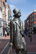 The James Joyce Statue on North Earl Street on 2nd April 2017 in Dublin, Republic of Ireland. Dublin is the largest city and capital of the Republic of Ireland, it's on Ireland's east coast at the mouth of the River Liffey.