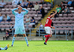 Coventry City's Billy Daniels cuts a dejected figure after conceding a goal - Photo mandatory by-line: Dougie Allward/JMP - Tel: Mobile: 07966 386802 11/08/2013 - SPORT - FOOTBALL - Sixfields Stadium - Sixfields Stadium -  Coventry V Bristol City - Sky Bet League One